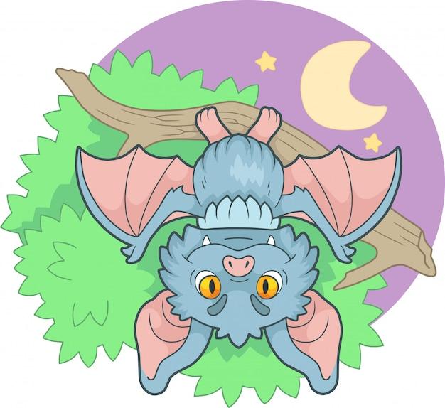 Karikatur niedliche kleine fledermaus, die an einem zweig hängt, lustige illustration