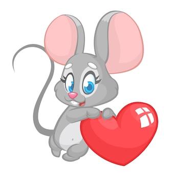 Karikatur niedliche maus, die ein liebesherz hält. illustration zum valentinstag.