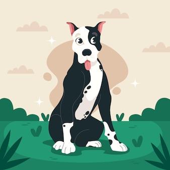 Karikatur niedliche pitbull-illustration
