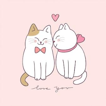 Karikatur niedliche valentinsgrußtagespaarkatzen.