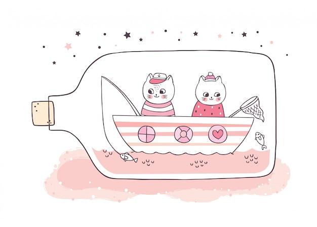 Karikatur niedliche weiße katzen, die in der glasflasche fischen.