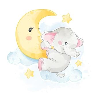 Karikatur-niedlicher elefant, der auf der mondillustration hängt