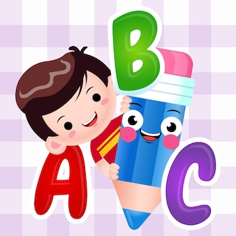 Karikatur-niedlicher junge, der bleistift mit alphabet hält
