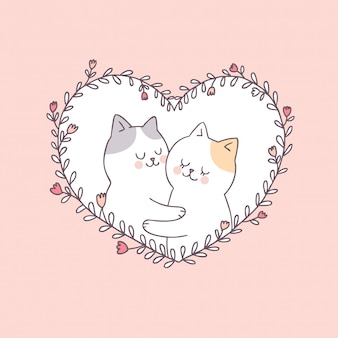Karikatur-niedlicher valentinsgrußtagespaarkatzenvektor.