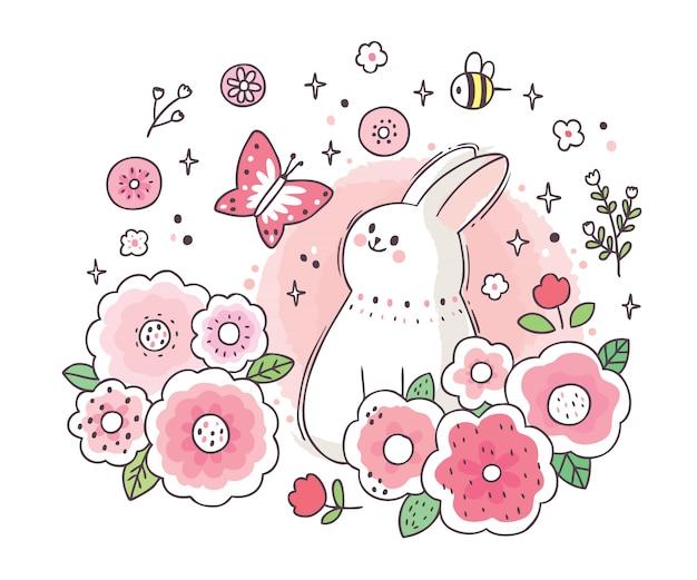 Karikatur niedliches entzückendes weißes kaninchen und schmetterling und gartenblume
