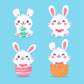Karikatur niedliches kleines kaninchen, das osterei umarmt lokalisiert auf hintergrund