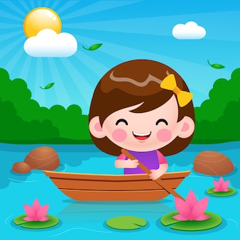 Karikatur niedliches kleines mädchen, das auf boot an der flussillustration reitet