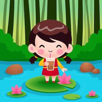 Karikatur-niedliches kleines mädchen, das auf lotus steht, blasentee oder perlentee trinkt