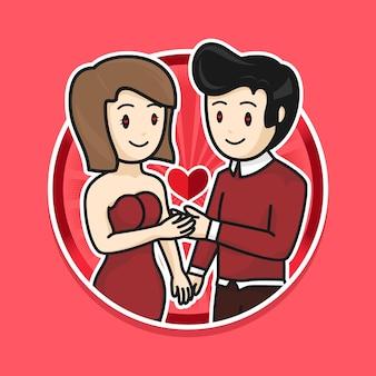 Karikatur niedliches valentinstagpaar mit rotem kleid illustration flaches design