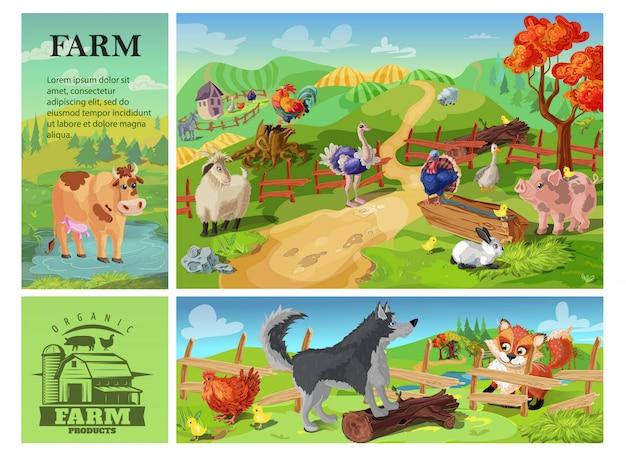 Karikatur-nutztierzusammensetzung mit kuhziegenschwein-schafhahn-kaninchen-strauß-truthahn auf ländlicher landschaft und hund, der huhn vom fuchs verteidigt