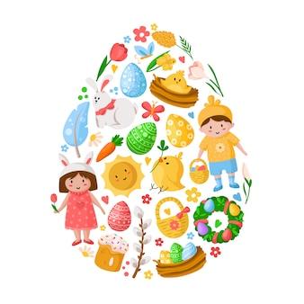 Karikatur-ostertag, kinderjungenmädchen in kostümen, ostereiern, frühlingsblumen, kaninchen, chiken, weidenzweig, blumenkranz
