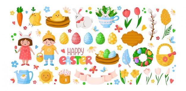 Karikatur-ostertag, kinderjungenmädchen in kostümen, ostereiern, frühlingsblumen, kaninchen, chiken, weidenzweig