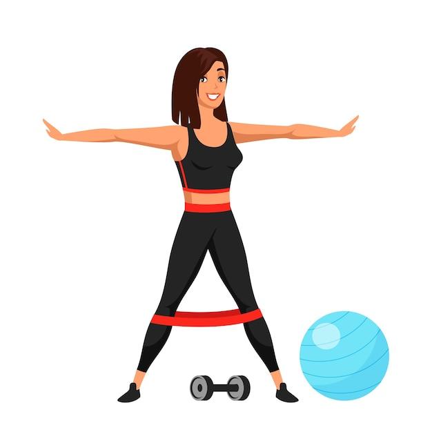 Karikatur passen junge frauenfigur im sportbekleidungstraining mit fitnessgummi auf beinen.