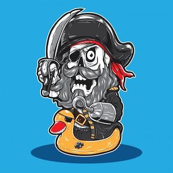 Karikatur-pirat, der gelbe gummiente trägt