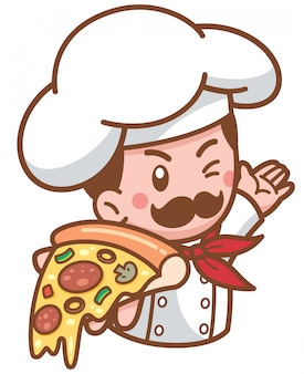 Karikatur-pizzachef, der lebensmittel darstellt