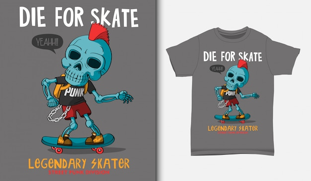 Karikatur-punkschädel, der skateboard spielt, mit t-shirt-entwurf, hand gezeichnet