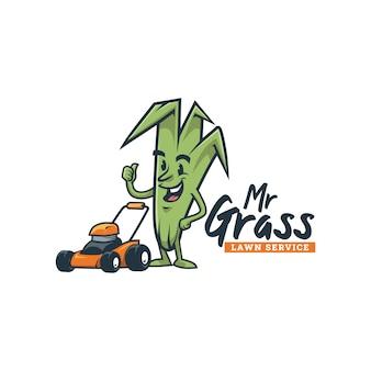 Karikatur retro vintage rasenservice gras maskottchen logo