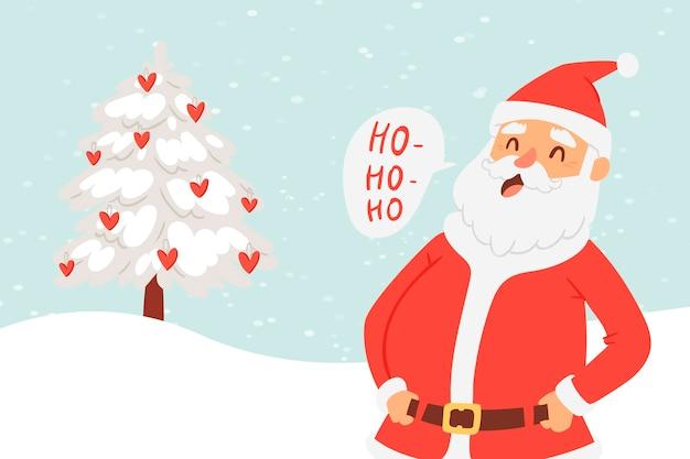 Karikatur santa claus für weihnachts- und des neuen jahresgrußillustration.