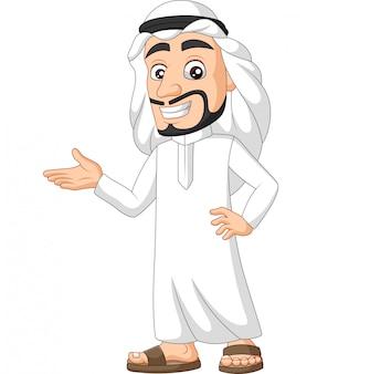 Karikatur saudi-arabischer mann präsentieren