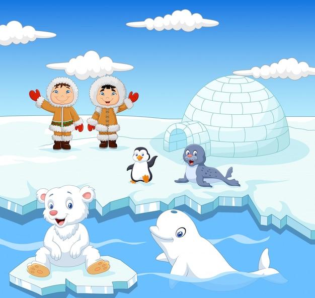 Karikatur scherzt eskimo mit arktischen tieren