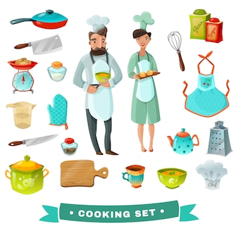 Karikatur-set kochen