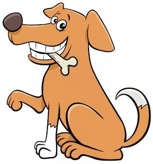 Karikatur sitzender hund tiercharakter mit knochen
