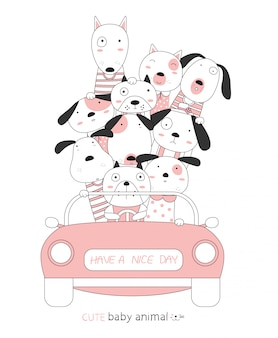 Karikatur skizzieren die niedlichen tierbabys des hundes mit dem rosa auto. handgezeichneter stil.