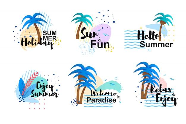 Karikatur-sommer-karten-satz mit hand gezeichneter beschriftung und inspirierenden zitaten