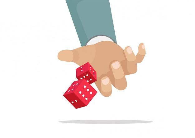 Karikatur, spielen und geschäftsrisikokonzept, werfende würfel des geschäftsmannes hand, ergreifen eine chance.