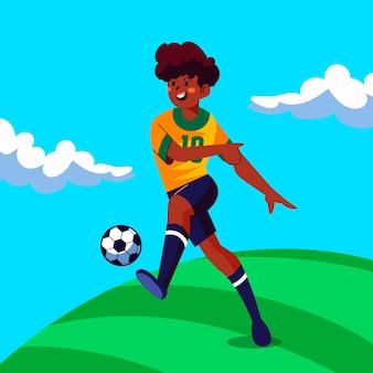 Karikatur südamerikanischer fußballspieler illustration