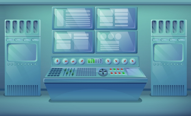 Karikatur-technikraum mit ausrüstung, vektorillustration