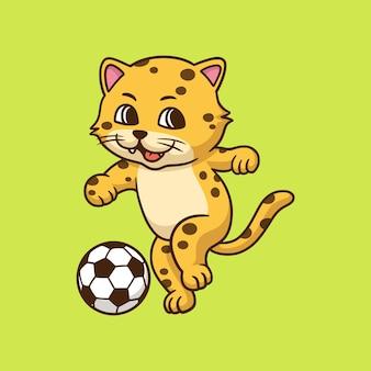 Karikatur-tierdesign-leopard, der fußball spielt