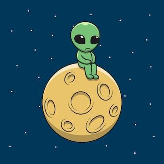 Karikatur trauriger alien auf dem mond.