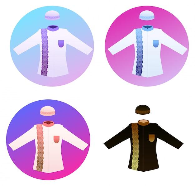 Karikatur-vektor für moslemisches kleid für jeden tagesgebet