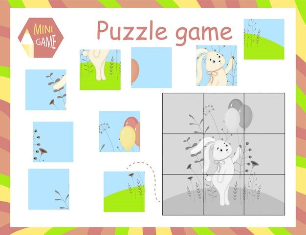 Karikatur-vektor-illustration des bildungs-puzzlespiel-spiels für vorschulkinder