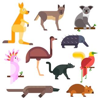 Karikatur-vektorsammlung wilder tiere australiens