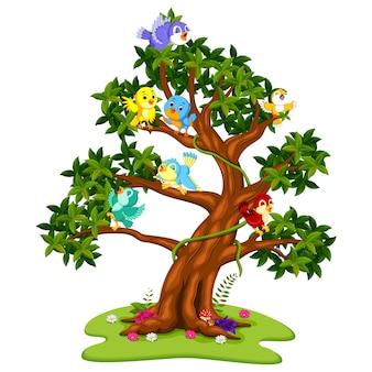 Karikatur vieler vögel auf den bäumen