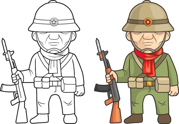 Karikatur vietnamesischer soldat illustration