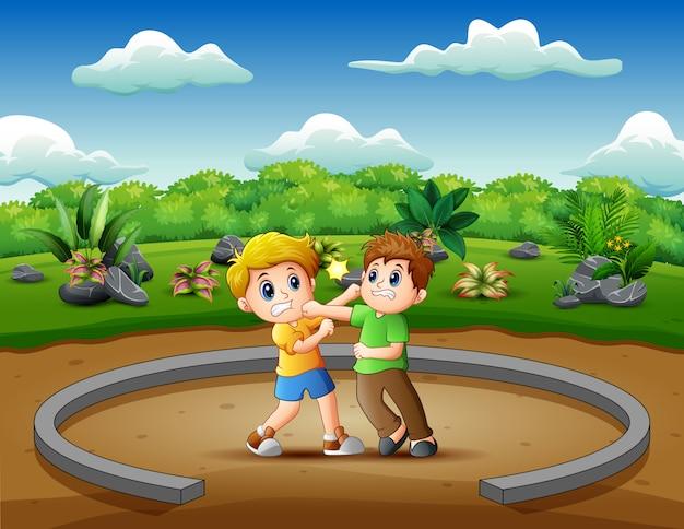 Karikatur von den kindern, die illustration spielen und kämpfen
