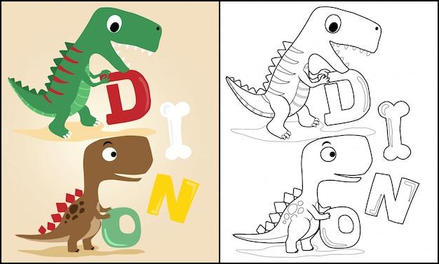 Karikatur von dinosauriern, die buchstaben tragen