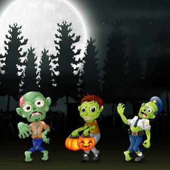 Karikatur von drei zombies im garten nachts