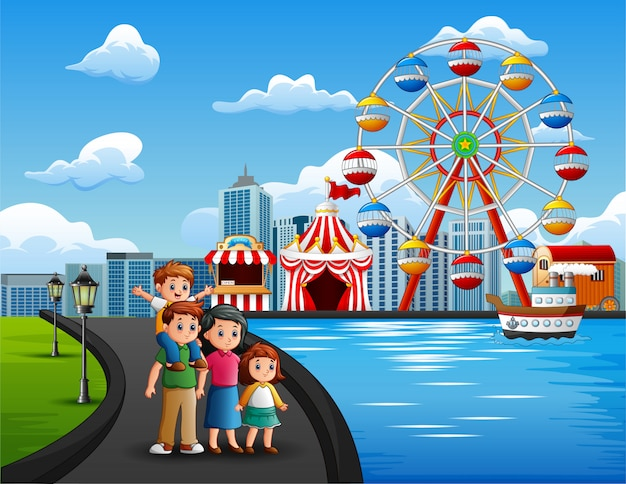 Karikatur von familienurlaub mit vergnügungsparkhintergrund