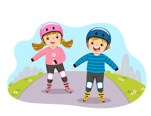 Karikatur von kindern in schutzhelmen, die auf rollschuhen im park spielen