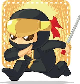 Karikatur von ninja, die japanisches schwert hält