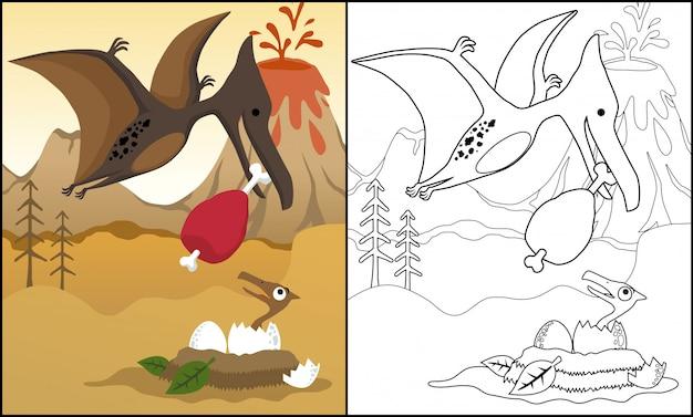 Karikatur von pterodaktylus, der sein junges füttert