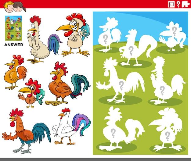 Karikatur von streichhölzern und der richtigen form oder silhouette mit hühnern farmtiercharakter-lernspiel für kinder