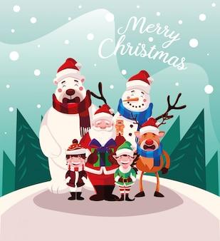 Karikatur von weihnachten mit frohen weihnachten des aufklebers