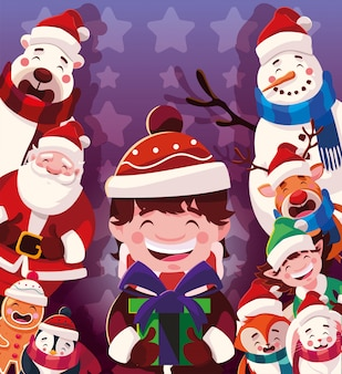 Karikatur von weihnachten mit ikonen von weihnachten