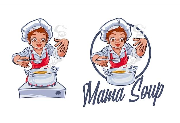 Karikatur weiblicher chefkoch, der suppe charakter maskottchen logo kocht