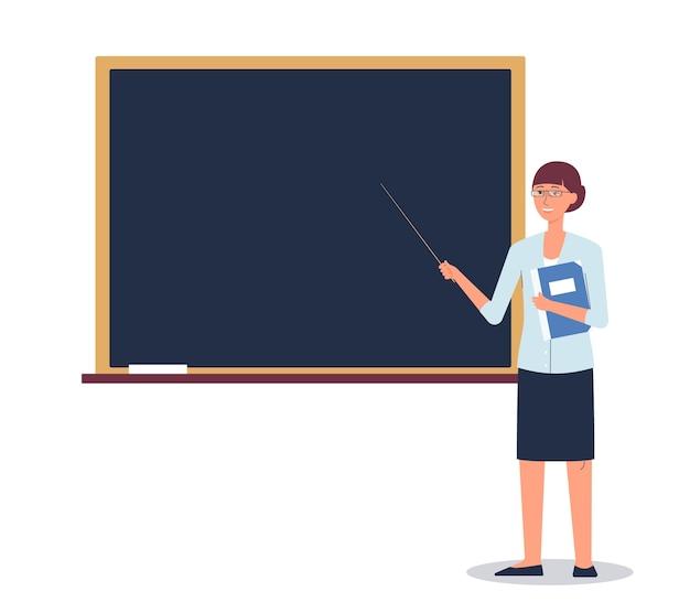 Karikatur weiblicher lehrer, der durch schultafel auf weißem hintergrund steht - frau, die auf leeres brett mit zeiger zeigt. bildungsnachrichtenvorlage - illustration